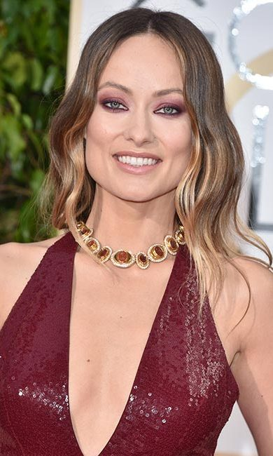The New York-born star was as sultry as ever for the Golden Globes, opting for shimmering burgundy eyeshadow to match her edgy gown.