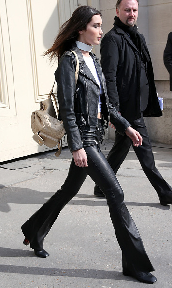 Bella Hadid showed off her model-off-duty style leaving the Chanel show.