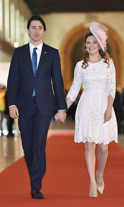 The Commonwealth Heads of Government Meeting (CHOGM) in Malta called for a prim and pretty ensemble. Walking hand-in-hand with Justin, Sophie had a Duchess of Cambridge moment in a gauzy pink fascinator, a pale-pink lace dress and nude pumps.