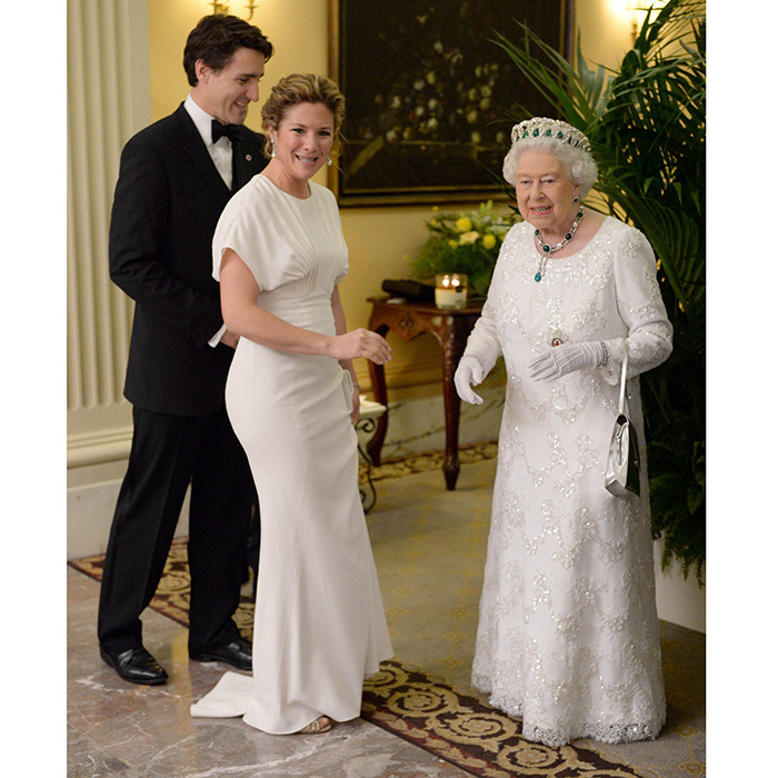 Sophie and the Queen had a twinning moment in floor-length white gowns as they were reunited in Malta in November 2015 just days after first meeting at Buckingham Palace. Sophie's red carpet-worthy Zac Posen gown had fashionistas swooning, and she kept the look simple with pearl-drop earrings and a bejewelled clip in her hair. 