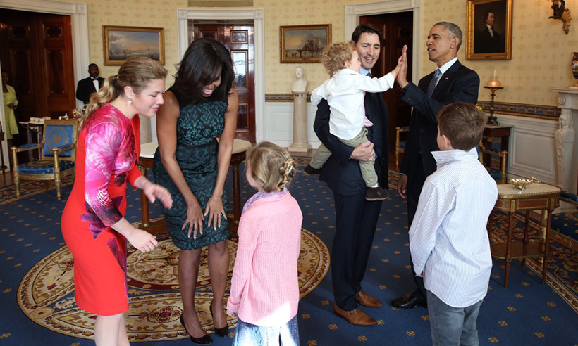 The Trudeaus and Obamas enjoyed some family time in the Oval Office. Here, two-year-old Hadrien gives the POTUS a big high five.  