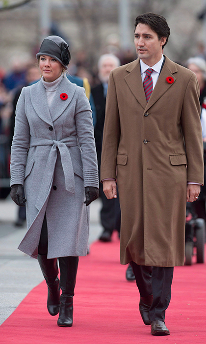 Attending a Remembrance Day service with her husband by her side, Sophie dazzled in grey yet again, wearing another coat by favoured brand Sentaler featuring ribbed sleeves and a belt, plus a '20s-style hat with black ribbon detailing an black boots. 