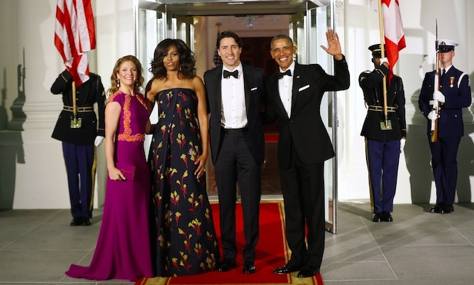 The Obamas and Trudeaus posed for photographers before heading into the state dinner at the White House.<p>Photo: © Pablo Martinez/CP</p>