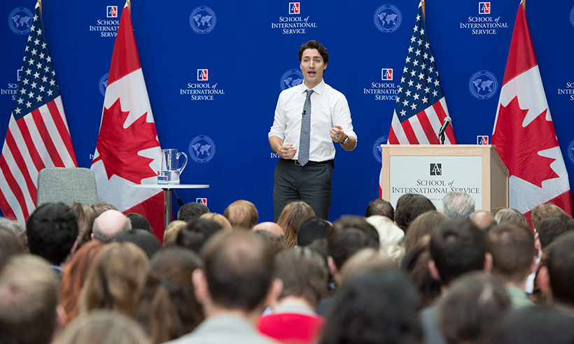 On Friday afternoon, Justin addressed students at Washington's American University. 