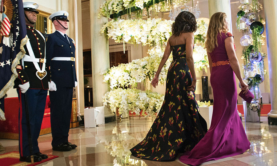 Malia and Sasha Obama attend first state dinner - HELLO! Canada Reynolds Wrap Dress