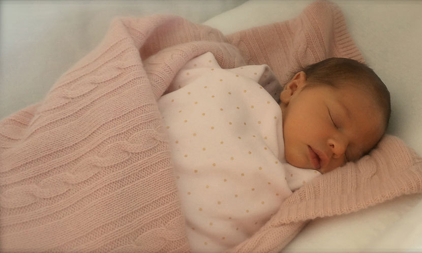 "Princess Madeleine couldn't resist sharing this adorable photo of her ""little angel"" Leonore shortly after her arrival in 2014. Shared on the Swedish royal's official Facebook page, the snap showed the newborn fast asleep while wrapped up in a pink blanket."