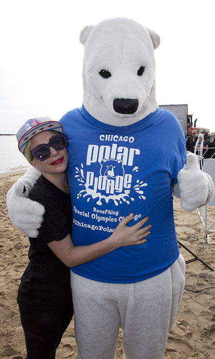 Lady Gaga chilled out at the 16th Annual Polar Plunge at Chicago's North Avenue Beach. 