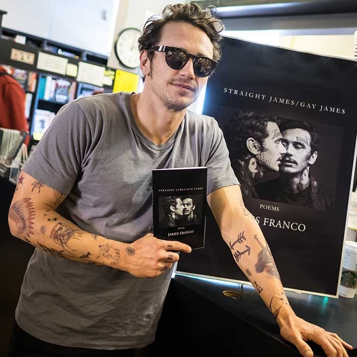 A shaded James Franco signed copies of his new book <i>Straight James/Gay James</i> in West Hollywood.