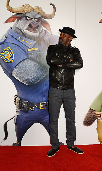 Idris Elba had a pose off with his character from the animated flick <i>Zootopia</i> at a screening of the film in London. 