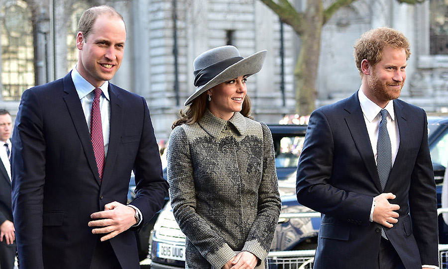 The Duke and Duchess of Cambridge arrive at the service with Prince Harry.