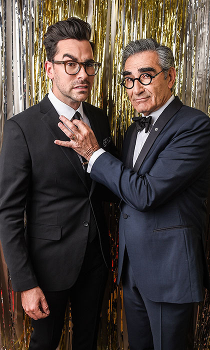 <em>Schitt's Creek</em> stars and winners Dan Levy and Eugene Levy.