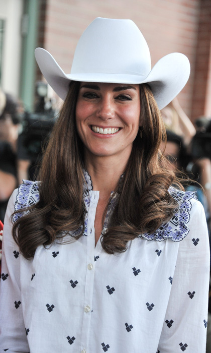 For the Calgary Stampede, Kate went full festive in a country-inspired getup – complete with a white cowboy hat.