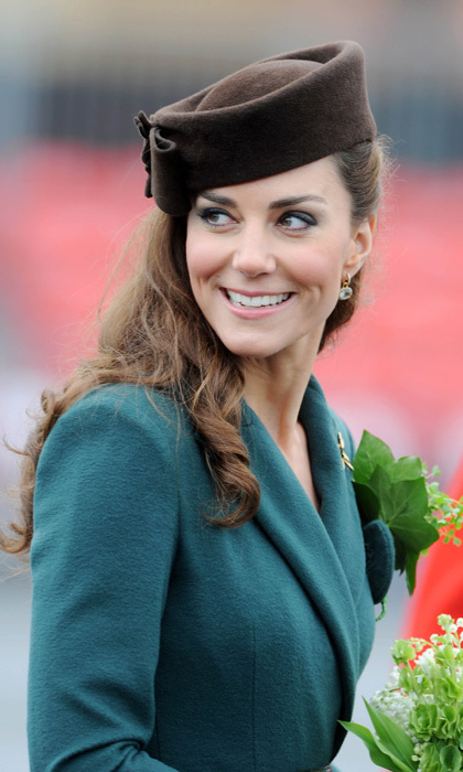 The Duchess charmed on St. Patrick's Day 2012 in an emerald coat and a Lock & Co brown pillbox hat.
