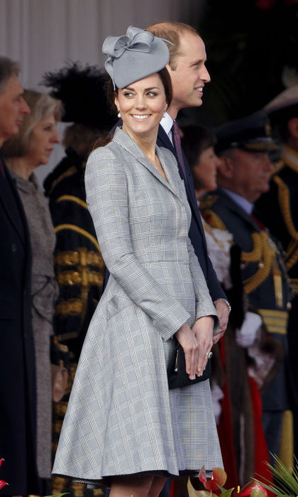Making her first public appearance since announcing her second pregnancy, Kate pulled out all the stops with a gorgeous grey ensemble consisting of Alexander McQueen and her favourite milliner Jane Taylor.