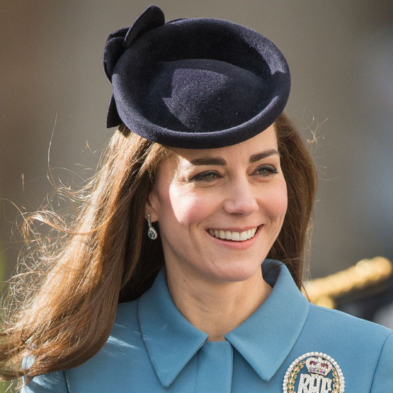Kate prefers an off-centre style when it comes to hats, normally one that sits low on her forehead.