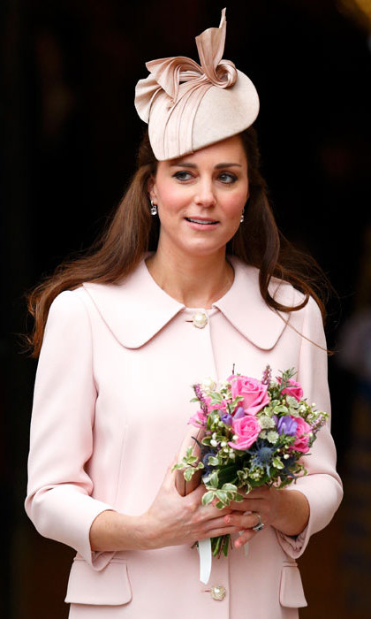 Pretty in pink! Kate wore her favourite milliner Jane Taylor once again for an official engagement in March 2015.