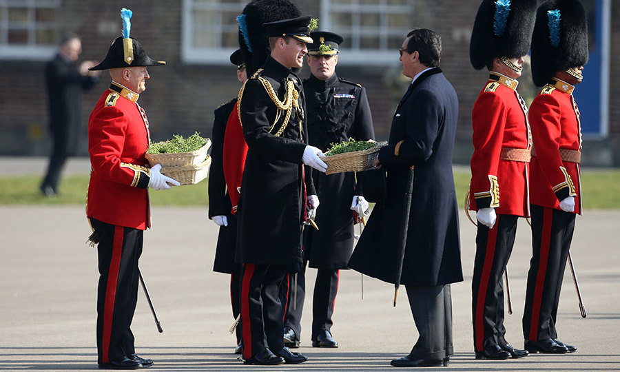 The Duke of Cambridge prepares to present sprigs of shamrock to the Irish Guards as he visits Cavalry Barracks in Hounslow.