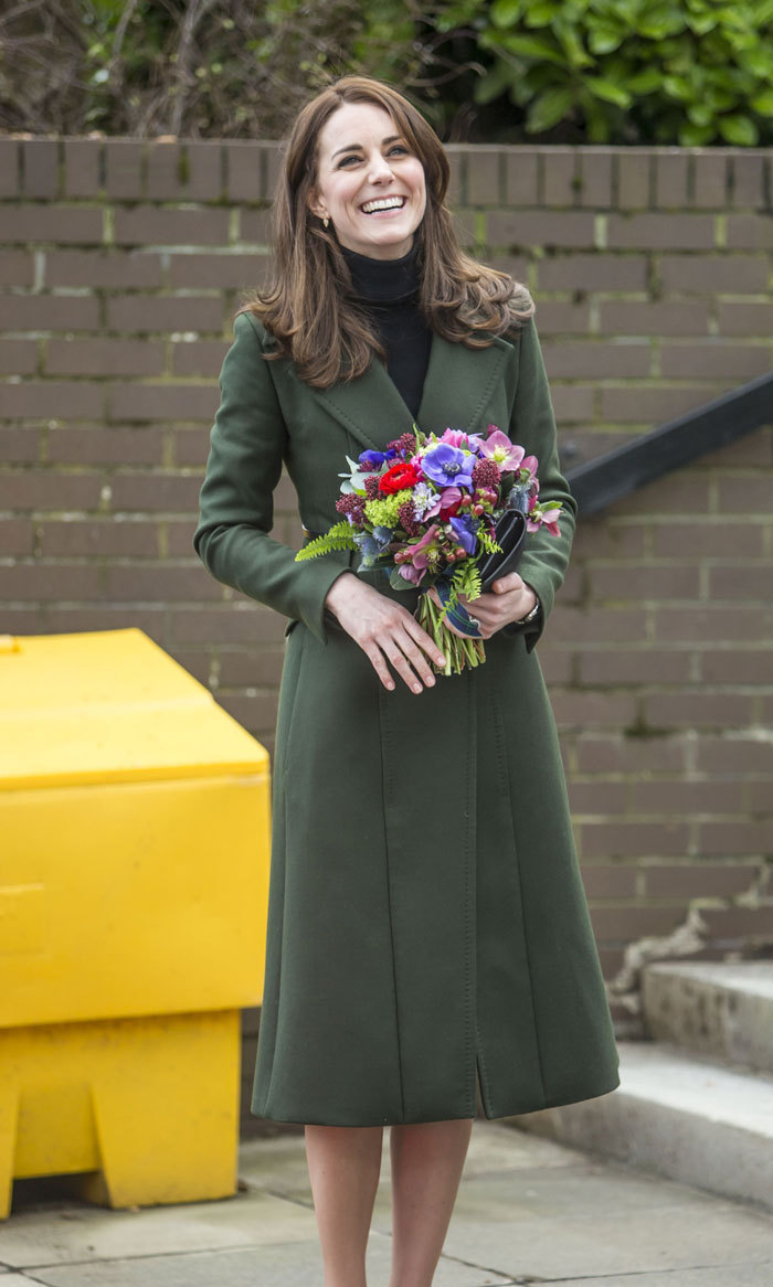 <p>While on a visit to Edinburgh, Scotland in February, the style-savvy royal looked happy and absolutely radiant in this long green coat while holding a bouquet of flowers.</p>