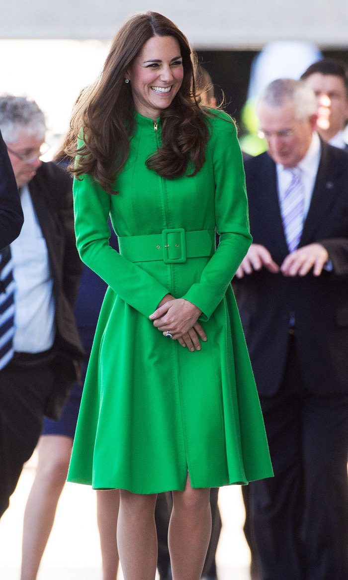<p>The Duchess brought colour Down Under with this shamrock-green coat dress for a visit to Canberra, Australia in 2014.</p>