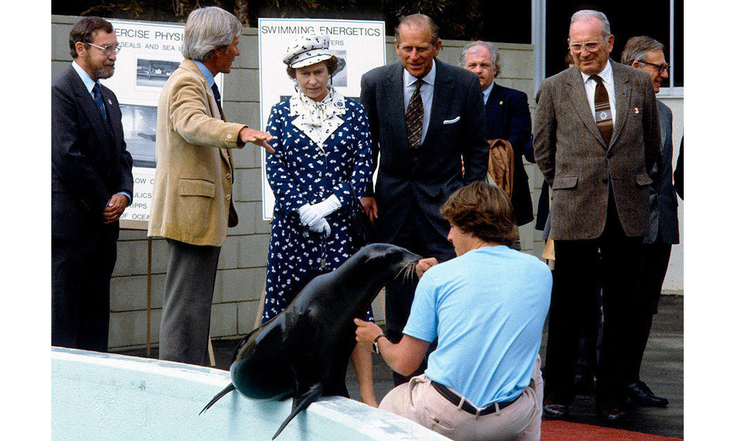 Queen Elizabeth ll and Prince Philip, Duke of Edinburgh watch sea lions being fed during a visit to the Institute of Oceanography in February 1983 in San Diego, California.