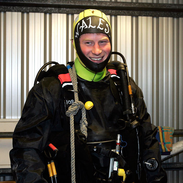 <p>Prince Harry, Commodore-in-Chief of small ships and diving, jumped in the deep end to conduct some underwater engineering when he visited the Royal Navy's fleet diving squadron in 2011.
