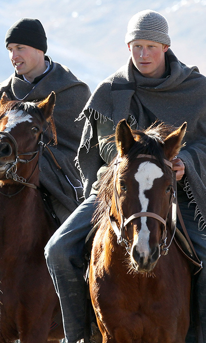 <p>We're more used to seeing them on polo ponies, but Prince Harry and his brother Prince William rode on horseback in Semonkong, Lesotho on their way to visit a local school on June 17, 2010.