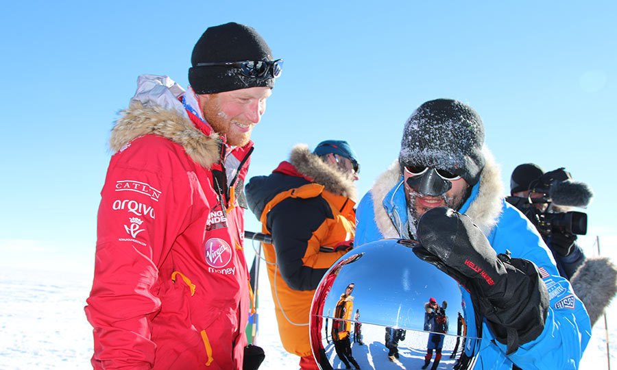 <p>Prince Harry and teammate Ivan Castro arrived at the South Pole after trekking 200 miles across frozen Antarctica in 2013. The royal took part in the Walking with the Wounded expedition with 12 other former servicemen and women.</p>