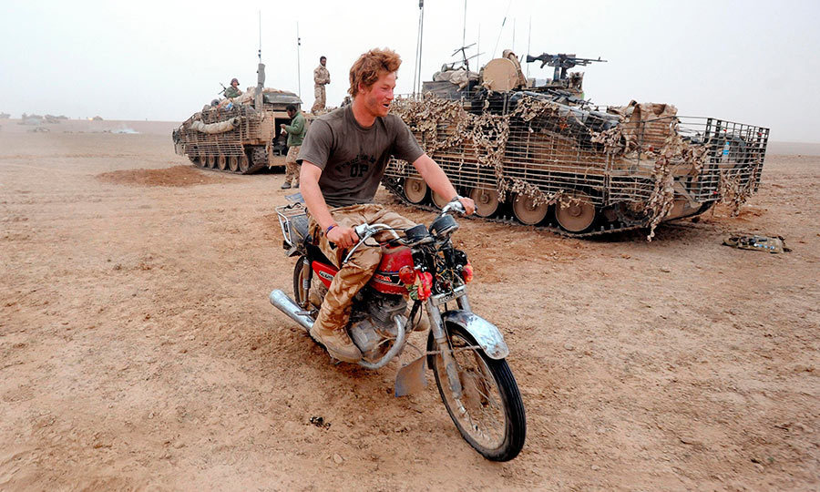 <p>During a tour of Helmund province, army officer Prince Harry decided to try and start a motorcycle that he found abandoned in the desert.</p>