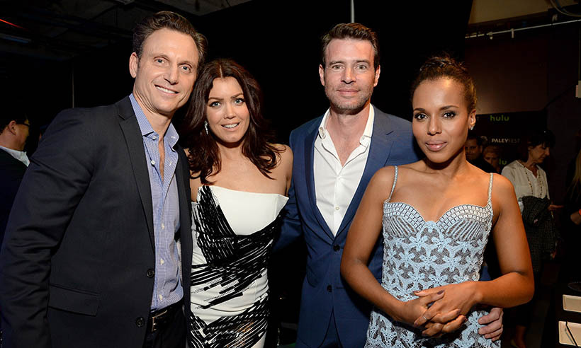 The cast of <i>Scandal</i> (From left: Tony Goldwyn, Bellamy Young, Scott Foley and Kerry Washington) talked about their hit show at PaleyFest in Los Angeles. 
