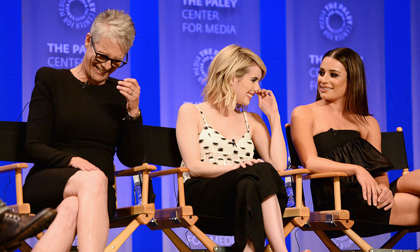 Also at PaleyFest, Jamie Lee Curtis and her <i>Scream Queens</i> co-stars Emma Roberts and Lea Michele shared a laugh on stage.  