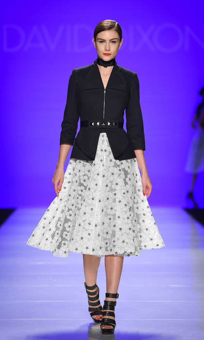 "David Dixon's collection was inspired by the ""Know Your Genes"" campaign, with a focus on giving back to Ovarian Cancer Canada, a cause that Sophie will surely appreciate. Next time she's chairing a luncheon or attending a daytime event, this jacket-skirt combo is a guaranteed winner.