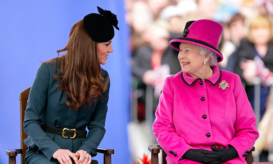 The Queen and Kate during their joint engagement in Leicester in 2012.