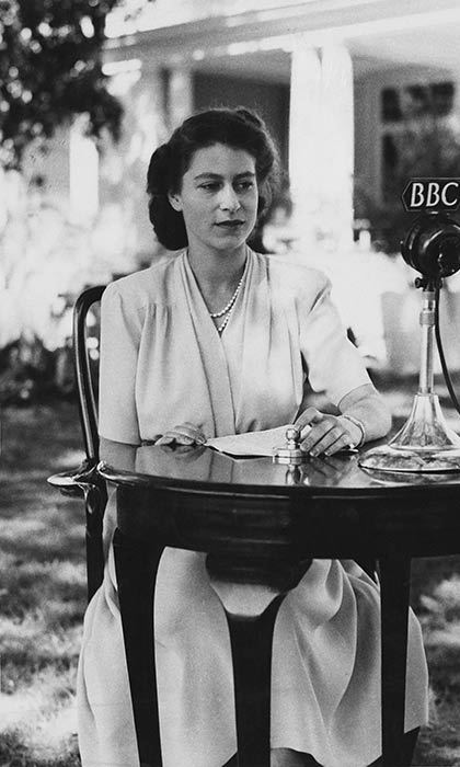 Princess Elizabeth making a broadcast from the gardens of Government House in Cape Town, South Africa, on the occasion of her 21st birthday.