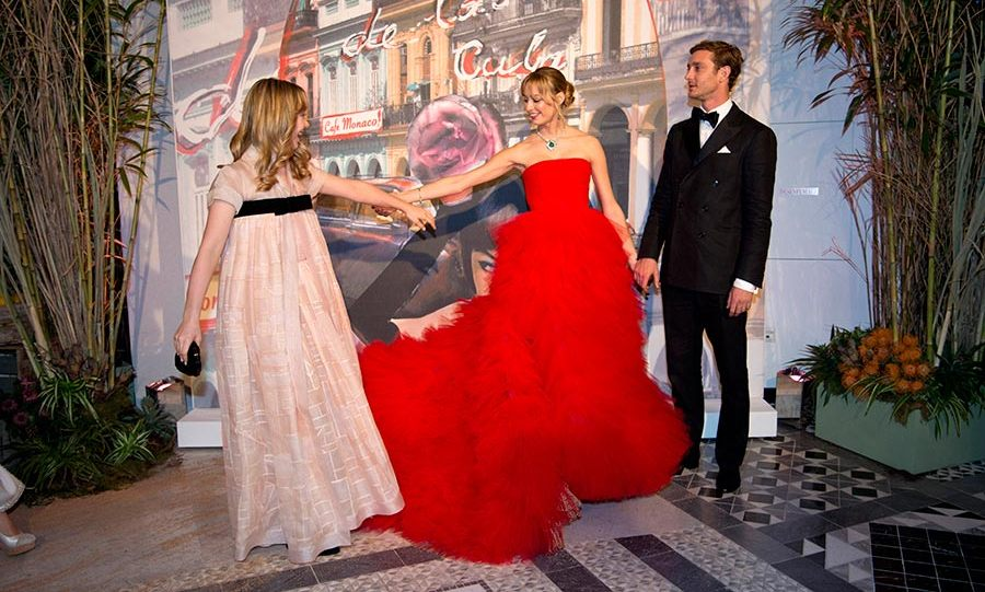Princess Alexandra of Hanover, pictured with Beatrice Borromeo and Pierre Casiraghi, made her debut at the ball this year.