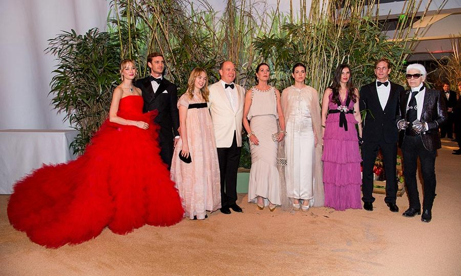 Beatrice Borromeo, Pierre Casiraghi, Princess Alexandra of Hanover, Prince Albert, Princess Caroline, Charlotte Casiraghi, Tatiana Santo Domingo, Andrea Casiraghi and Karl Lagerfeld attended Monaco's Rose Ball on Saturday.