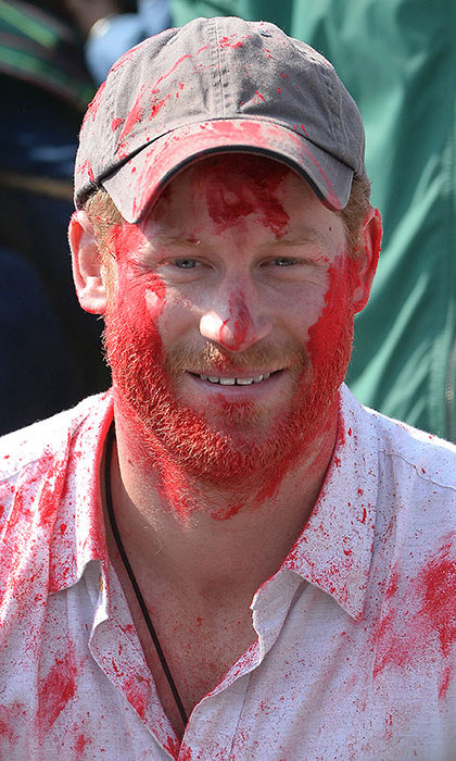 Prince Harry was covered in paint during the celebration of Holi