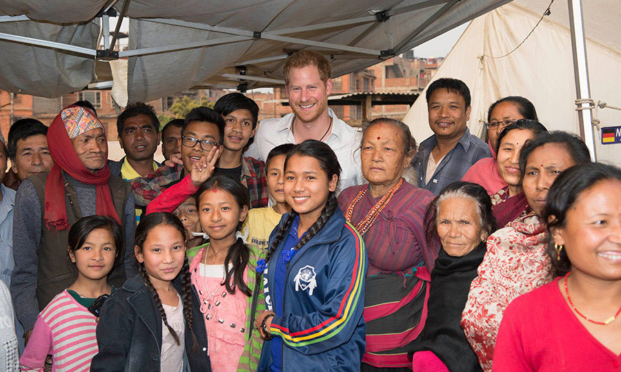The royal is in Nepal to visit areas hit by the 2015 earthquakes.