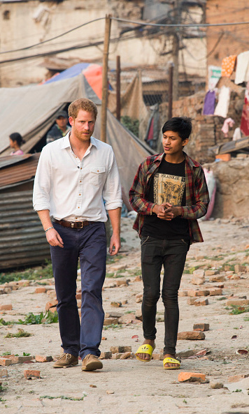 Harry toured the Buyansi Camp, a municipal camp for families displaced by the 2015 earthquake, with 15-year-old Purushottam Suwal.