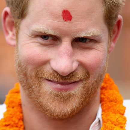 Prince George's uncle was photographed with a tika during his visit to the Red Cross preparedness containers at Bhaktapur.
