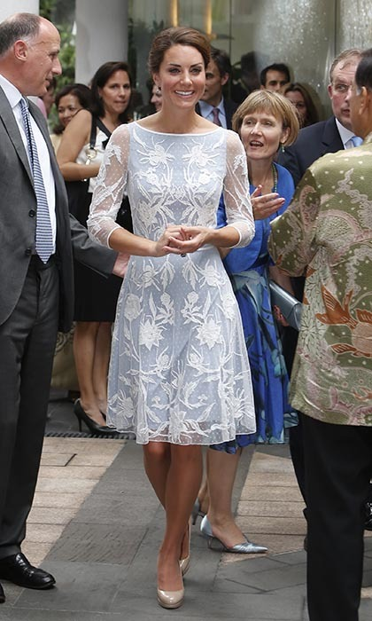 Looking cool in an ice-blue Temperley London dress, the Duchess of Cambridge attended a tea party at the British High Commission during the Diamond Jubilee Tour in 2012. The royal paired the dress with her trusty nude L.K Bennett Sledge pumps. 