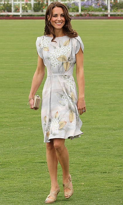 Prince William must have had a hard time keeping his eyes off his wife, looking spring ready in a grey floral-print Jenny Packham dress, as he took part in a charity polo match in Santa Barbara, California. Cheering her husband on from the sidelines, Kate finished her look with L.K. Bennett Silver Sandals and her Natalie clutch. 