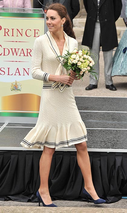 Kate won our Canadian hearts in this stylish cream knit Alexander McQueen ensemble paired with navy Prada shoes while on her visit to Province House in Charlottetown.