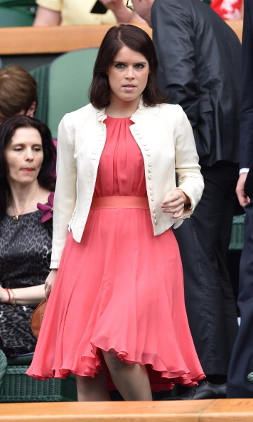 Eugenie served up some major style points in a flowy dress and jacket during the 2014 Wimbledon Championships.