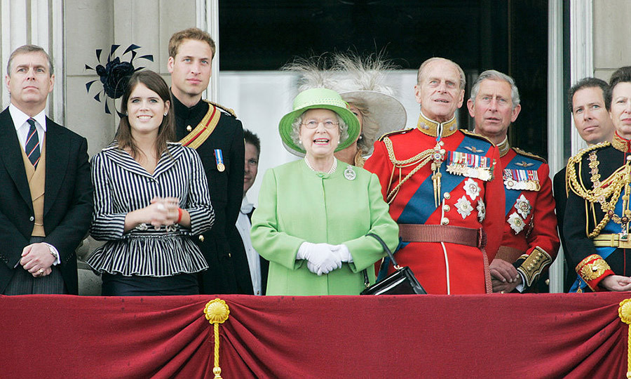 Queen Elizabeth and the Duke of Edinburgh surrounded by their family, including Princess Eugenie, left.