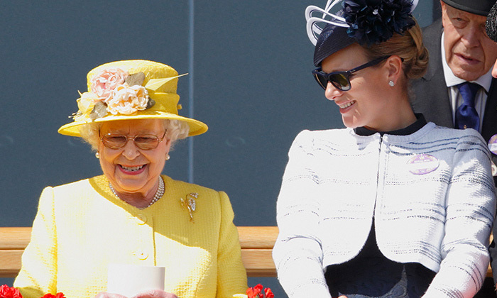 The Queen and granddaughter Zara Phillips share a laugh at Royal Ascot on June 19, 2015.