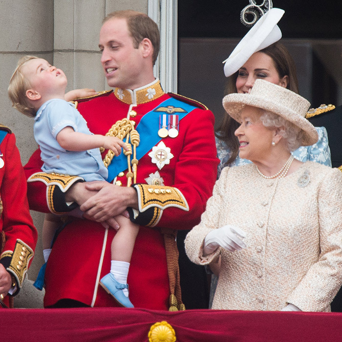 The Queen and two future kings – grandson William and great-grandson George – share a moment on the Palace balcony.