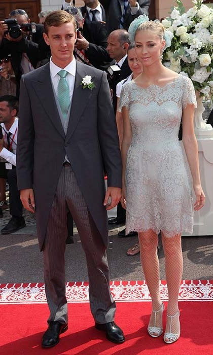 In a pastel lace dress, Beatrice accompanied Pierre to the royal wedding of Prince Albert II of Monaco and Princess Charlene in 2011.