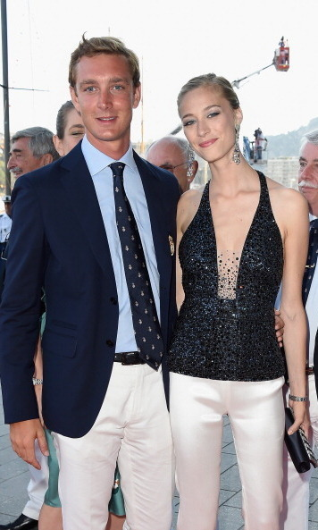 Pierre was smitten with his fiancée — who looked gorgeous in her monochromatic ensemble — at the Monaco Yacht Club opening in 2014