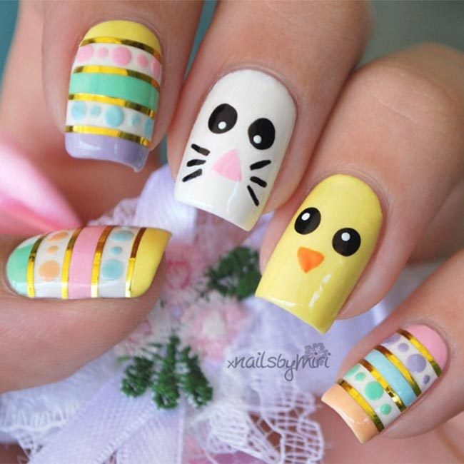 All you need to recreate @xnailsbymiri's gorgeous pastel Easter egg designs is pastel nail polishes, a dotting tool and a striping tool.