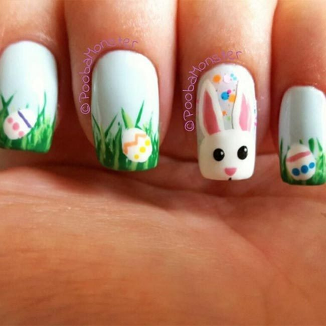 Pay a quirky tribute to the Easter bunny with @poobamonster's cute grass and eggs combo.